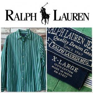 XL Ralph Lauren Polo Jeans Co. Green-White Shirt